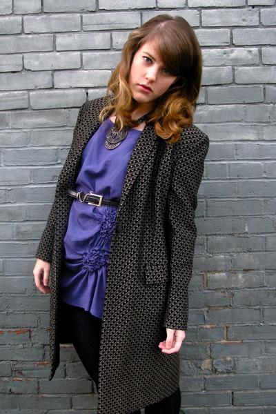 purple Dahlia blouse - black vintage jacket - black thrifted belt - silver Awear