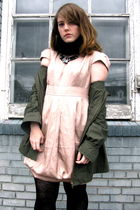 pink Forever 21 dress - green sws outerwear jacket - black gift tights - black t