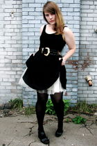 black Awear dress - white vintage shirt - black Nine West shoes - black calvin k