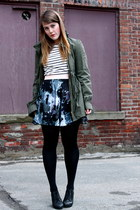 army green Urban Planet jacket - Joe Fresh sweater - black HUE tights - BB Dakot