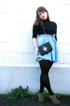 blue BB Dakota skirt - black Zara top - black HUE tights - brown volatile boots