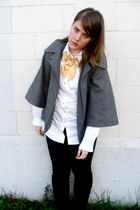 black Dahlia pants - white Joe Fresh blouse - gray Guess jacket - gold Awear