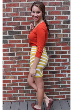 lime green striped skirt - burnt orange banana republic shirt