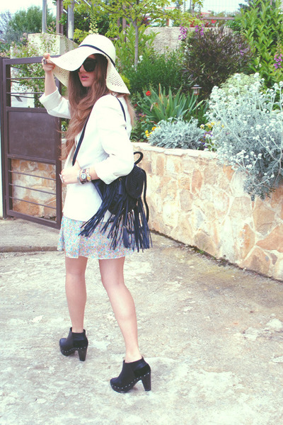 Topshop bag - Mango boots - ARAFEEL dress - H&M hat - vintage blazer