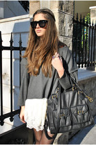 white ARAFEEL dress - black Zara bag - charcoal gray DIY top - black Lanvin for