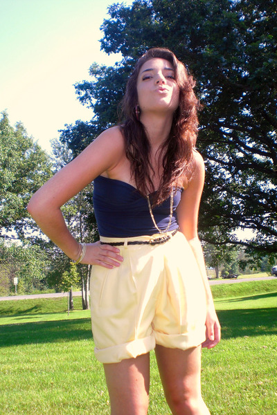 light yellow high-waisted vintage shorts - black Old Navy belt - navy American A