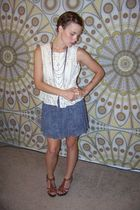 beige ATC top - silver Expresssecond handcut off skirt - brown Nine West shoes