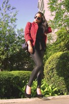 black pleather Zara leggings - red leopard print Paperbag Vintage blazer - black