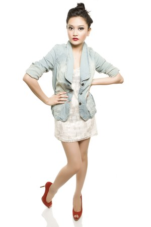 blue Paperbag Vintage blazer - white dress - red Zara shoes