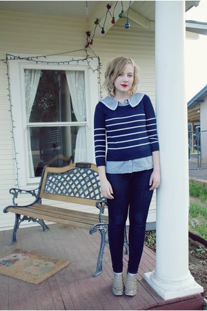 jegging AG jeans - striped H&amp;M sweater - pinstripe Dear Creatures blouse - Messe