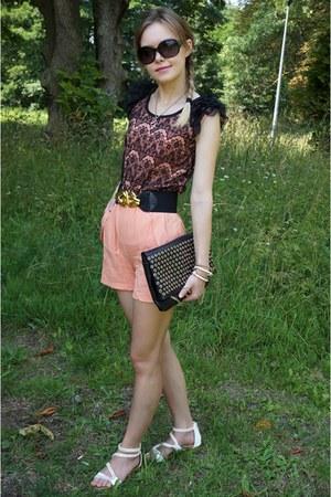 black Stradivarius bag - white CCC sandals - pink rosewe jumper