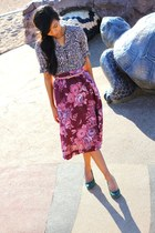 beige H&M blouse - light pink JCrew belt - amethyst thrifted vintage skirt - gre
