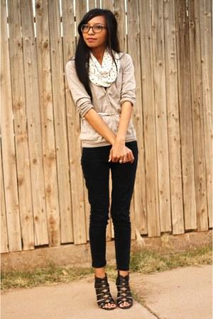 black skinny BDG jeans - ivory polka dot JCrew scarf - beige JCrew cardigan - go