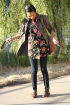 dark khaki Forever 21 jacket - black H&M blouse - black Urban Outfitters pants -