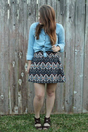 black patterned Forever 21 skirt - blue chambray TJ Maxx top