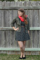 black polka dotted wal-mart dress - olive green utility Loft jacket