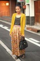mustard JCrew cardigan - charcoal JCrew t-shirt - maxi thrifted vintage skirt -