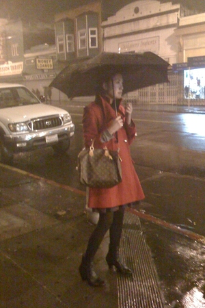 red Victorias Secret coat - brown Louis Vuitton accessories - black born boots -