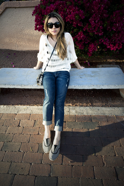 boyfriend jeans 7 for all mankind jeans - striped Reef shoes