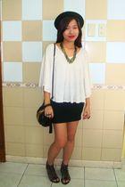 beige Forever21 top - gold Forever21 necklace - black H&M hat - black H&M - blac