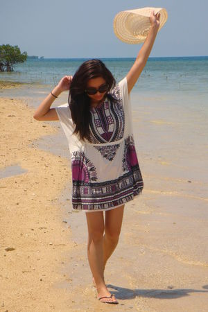 white random from greenhills tiangge dress - beige random from Palawan hat - bla