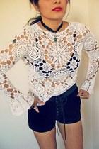 70s crochet bell sleeves top