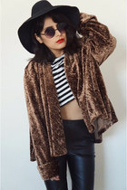 velvet vintage coat - striped Zara top