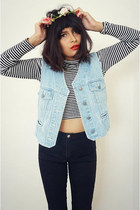 denim cropped vest - American Apparel pants