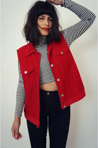 corudroy red vintage vest