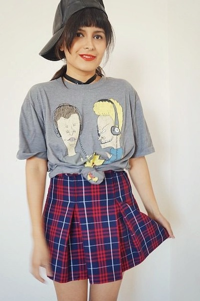plaid skirt vintage skirt