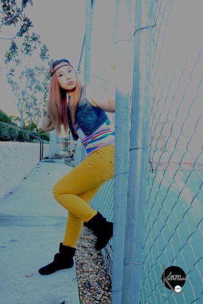 yellow papaya pants - stripes Forever21 top