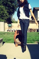 Goodwill vest - Old Navy top - Forever21 jeans - Jeffrey Campbell boots