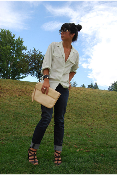 christian dior shirt - Levis jeans - vintage purse - Simply Vera from Kohls shoe