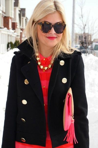 Joe Fresh coat - f21 shirt - hm bag - Karen Walker sunglasses