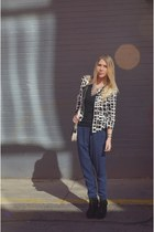 black sequin blazer - blue harem pants pants