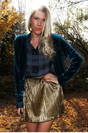 gold Forever 21 skirt - green thrifted blouse