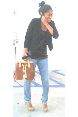 black cottonpolyester H&M blazer - sky blue hollister jeans