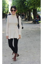 beige turtleneck dress