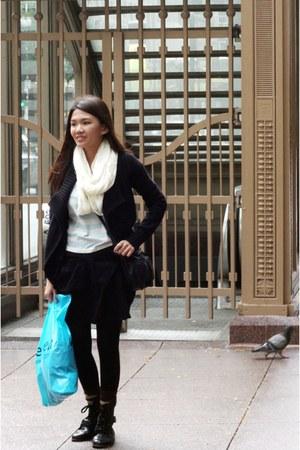 black wool Old Navy jacket - sky blue striped Bayo shirt - white Wet Seal scarf
