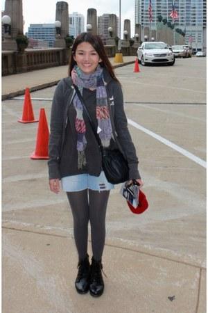combat AsianVogue boots - hollister jacket - leggings - shirt - Claires scarf