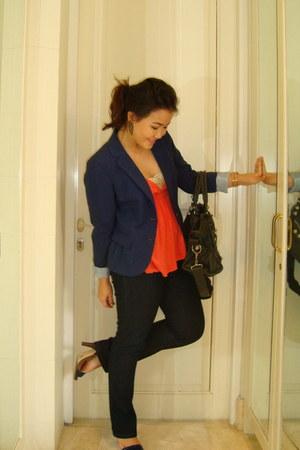 navy Dorothy Perkins jeans - navy H&M blazer - navy balenciaga bag