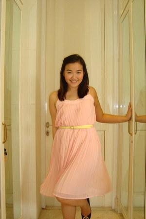 light pink Mango dress - light yellow Mango belt - black tory burch flats