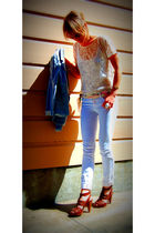American Apparel blouse - Fidelity Denim jeans - Report shoes - thrifted belt -