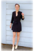 gray Jcrew accessories - black Cynthia Vincent dress - black American Apparel in