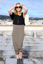 olive green maxi dress Forever 21 dress - black cropped top Dolce Vita top - bla