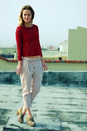 charcoal gray All Saints shoes - light pink Zara pants - crimson lace H&M top
