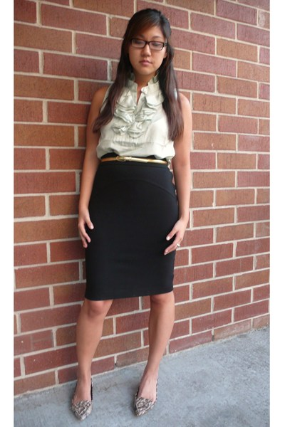 Diane Von Furstenberg skirt - JCrew blouse - Steve Madden shoes - JCrew belt
