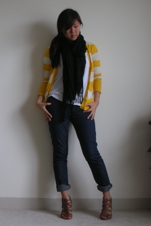 Madewell 1937 sweater - James Perse shirt - scarf - Deemer jeans - Nine West sho