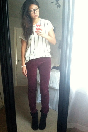 crimson corduroy By Zoe pants - black ASH boots - white silk madewell blouse