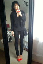 black JCrew jacket - black coach bag - black Helmut Lang pants